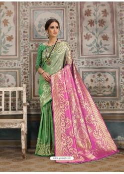 Awesome Green Designer Kanjeevaram Silk Sari
