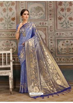 Trendy Blue Designer Kanjeevaram Silk Sari
