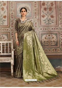 Awesome Grayish Green Designer Kanjeevaram Silk Sari