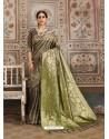 Awesome Grayish Green Designer Kanjeevaram Silk Sari