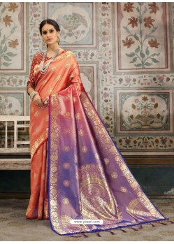 Trendy Light Orange Designer Kanjeevaram Silk Sari