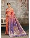 Trendy Light Orange Designer Kanjeevaram Silk Sari