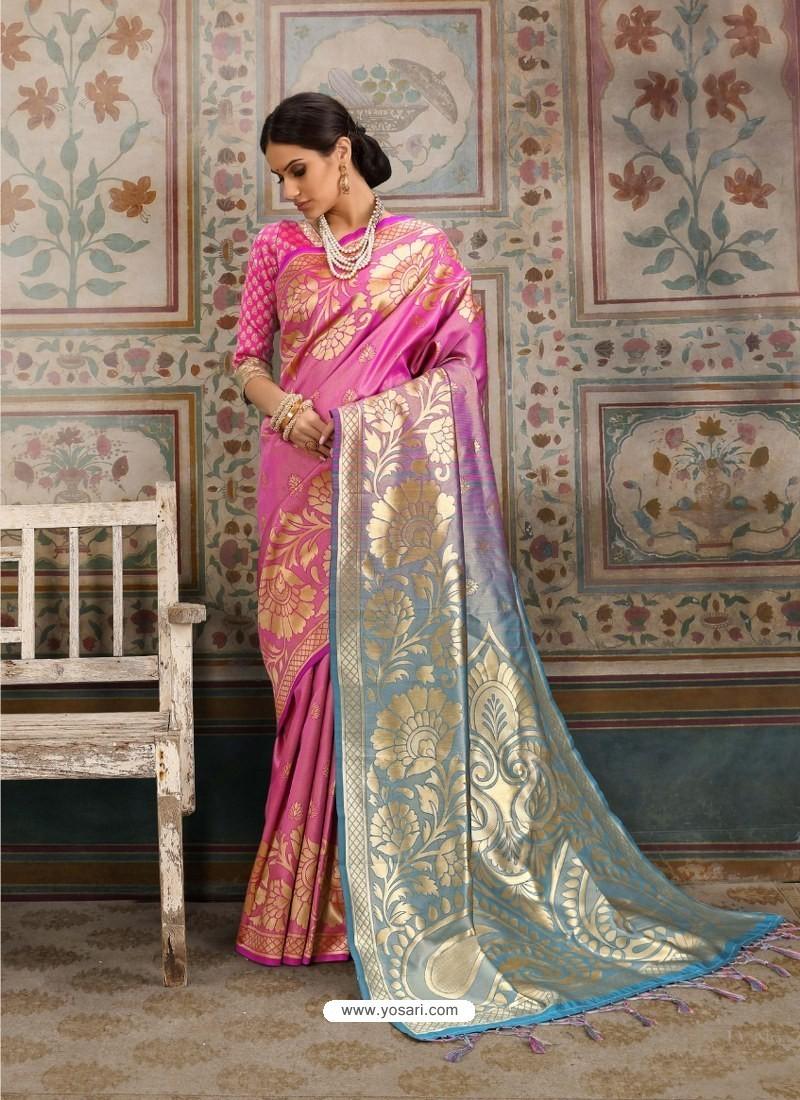 Dashing Pink Designer Kanjeevaram Silk Sari