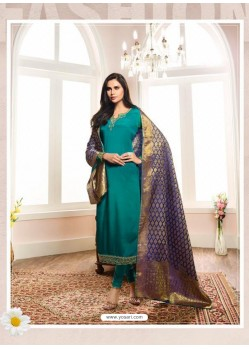 Fabulous Turquoise Embroidered Churidar Salwar Suit