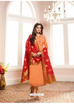 Ravishing Light Orange Embroidered Churidar Salwar Suit