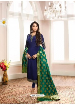 Trendy Royal Blue Embroidered Churidar Salwar Suit