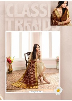 Trendy Beige Embroidered Churidar Salwar Suit