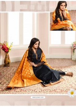 Ravishing Black Embroidered Churidar Salwar Suit