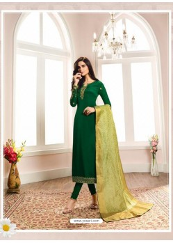 Trendy Forest Green Embroidered Churidar Salwar Suit