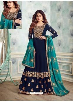 Fabulous Navy Blue Designer Palazzo Salwar Suit