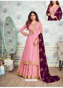 Scintillating Pink Designer Palazzo Salwar Suit
