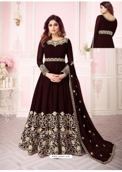 Fabulous Coffee Embroidered Designer Anarkali Suit