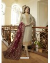 Ravishing Light Grey Embroidered Designer Straight Salwar Suit