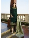 Fabulous Forest Green Embroidered Designer Straight Salwar Suit