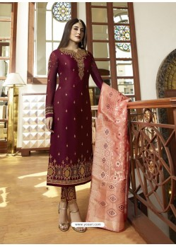 Scintillating Deep Wine Embroidered Designer Straight Salwar Suit