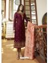 Scintillating Deep Wine Embroidered Designer Straight Salwar Suit