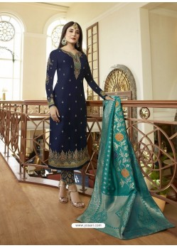 Fabulous Navy Blue Embroidered Designer Straight Salwar Suit