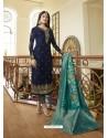 Fabulous Navy Blue Embroidered Designer Straight Salwar Suit