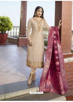 Ravishing Cream Embroidered Designer Straight Salwar Suit