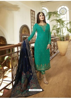Fabulous Aqua Mint Embroidered Designer Straight Salwar Suit