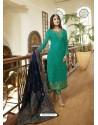 Fabulous Aqua Mint Embroidered Designer Straight Salwar Suit