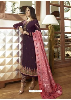Scintillating Purple Embroidered Designer Straight Salwar Suit