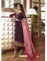 Scintillating Purple Embroidered Designer Straight Salwar Suit