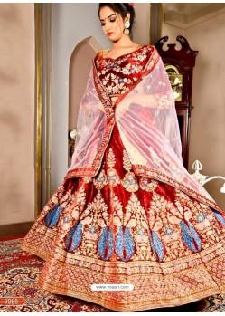 Trendy Maroon Heavy Embroidered Wedding Lehenga Choli