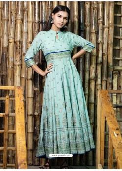 Ravishing Sky Blue Designer Readymade Kurti