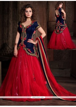 Diya Mirza Blue And Red Net Wedding Lehenga Choli