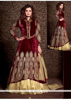 Diya Mirza Maroon Velvet Wedding Lehenga Choli