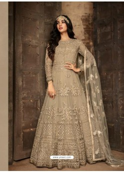 Fabulous Light Grey Embroidered Designer Anarkali Suit