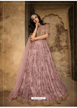 Scintillating Dusty Pink Embroidered Designer Anarkali Suit