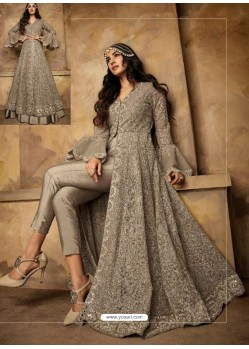 Fabulous Grey Embroidered Designer Anarkali Suit