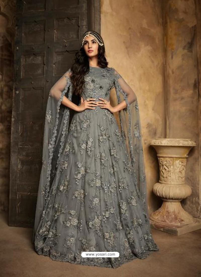 729ad223d2 Buy Awesome Grey Embroidered Designer Anarkali Suit | Anarkali Suits