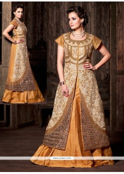 Diya Mirza Cream And Gold Silk Lehenga Choli