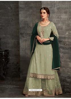 Ravishing Olive Green Designer Palazzo Salwar Suit