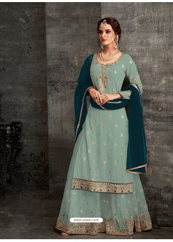 Scintillating Sky Blue Designer Palazzo Salwar Suit