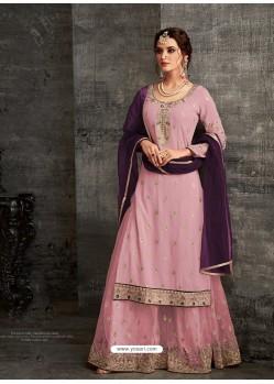 Fabulous Dusty Pink Designer Palazzo Salwar Suit