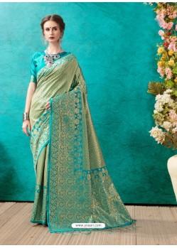 Trendy Sky Blue Banarasi Silk Embroidered Sari