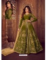 Scintillating Mehendi Embroidered Designer Anarkali Suit