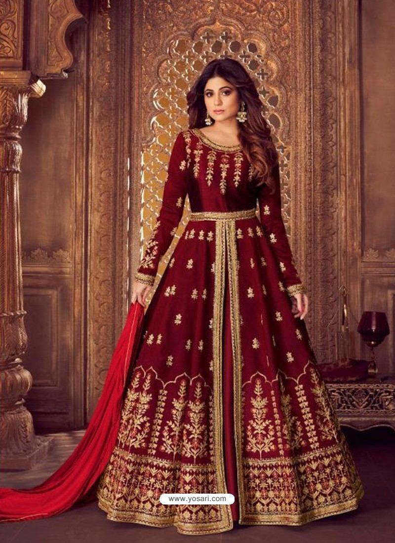 Scintillating Maroon Embroidered Designer Anarkali Suit