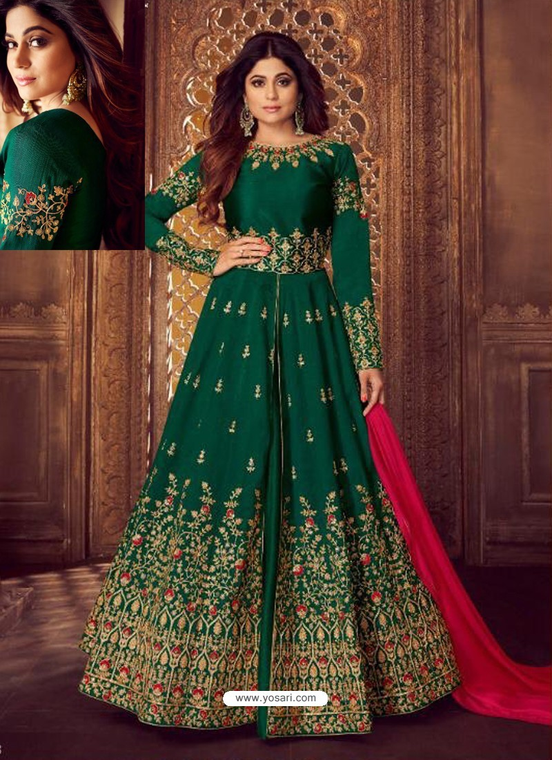 Awesome Dark Green Embroidered Designer Anarkali Suit