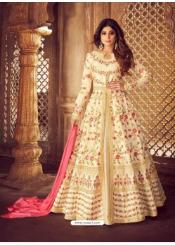 Fabulous Cream Embroidered Designer Anarkali Suit