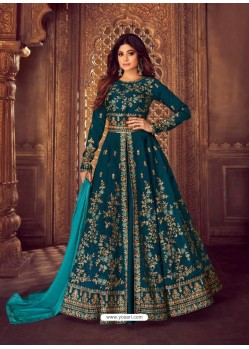 Awesome Peacock Blue Embroidered Designer Anarkali Suit