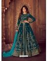 Awesome Peacock Blue Embroidered Designer Anarkali Suit