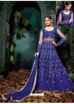 Scintillating Navy Blue Embroidered Designer Anarkali Suit