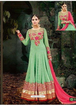 Fabulous Sea Green Embroidered Designer Anarkali Suit