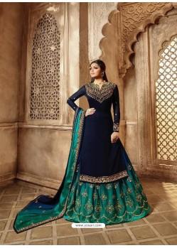 Scintillating Navy Blue Designer Palazzo Salwar Suit