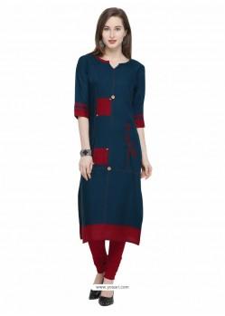 Ravishing Peacock Blue Designer Readymade Kurti